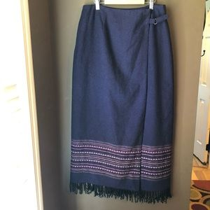 Worthington Wool Maxi Wrap Skirt Purple Women's 12